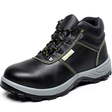 men big size black steel toe caps work safety shoes spring autumn women's high top cow leather tooling ankle boots zapatos lace