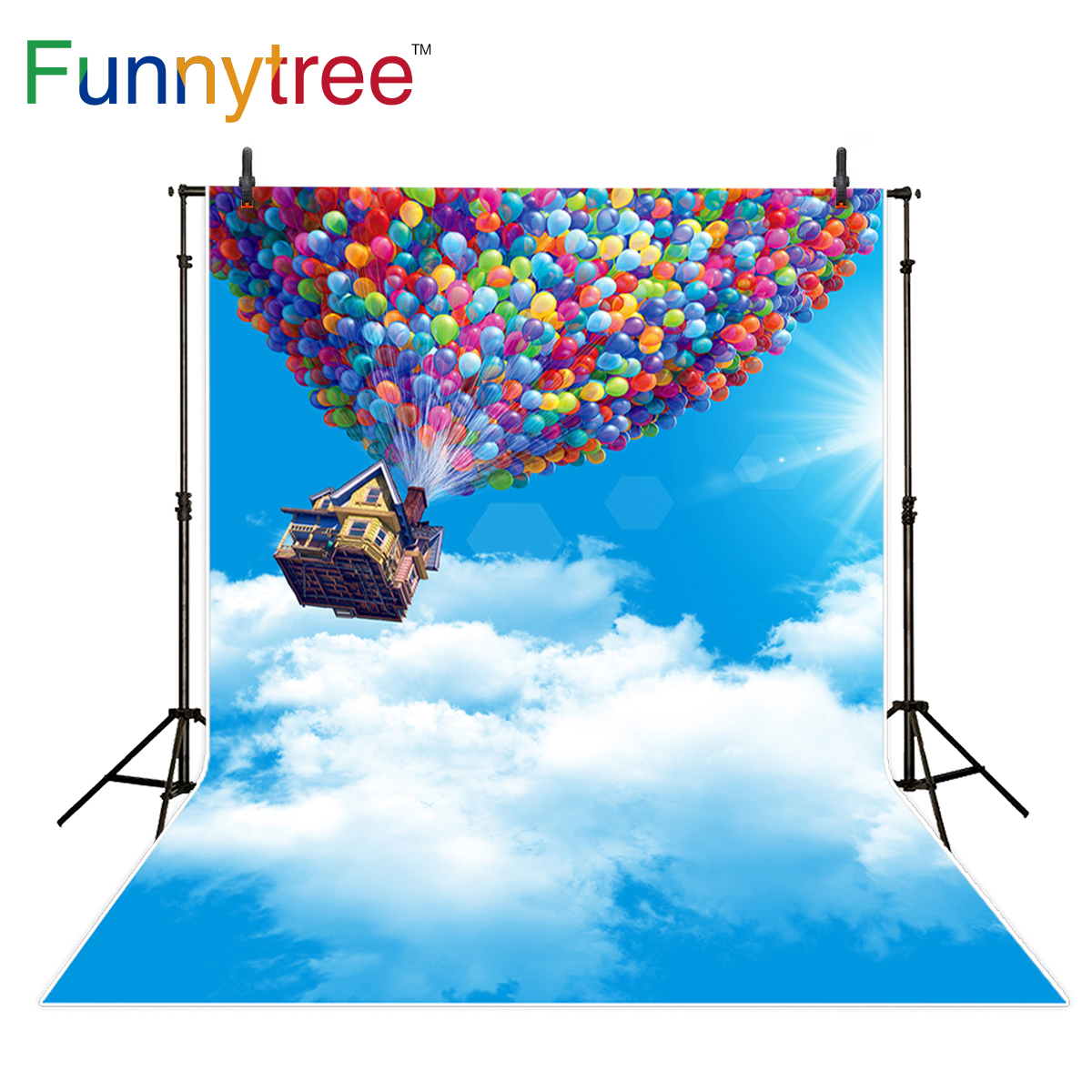 Funnytree photography background magic balloons house sky cloud sunshine fairy backdrop photocall photo studio customize vinyl photography background fairy tale