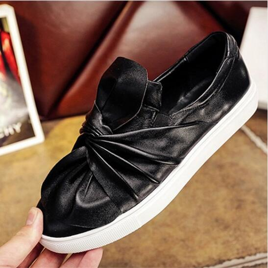 New Arrivals Spring Autumn 2018 Shoes Woman Fashion Design Bowtie Flats Knot Shoes Genuine Leather Casual Slip On Flat Shoes цена 2017