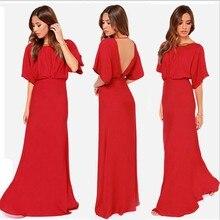 Şifon kırmızı hanım sonbahar elbise maxi elbise kat uzunluk O-Boyun yarım kollu backless halter uzun parti kulübü elbise vestidos