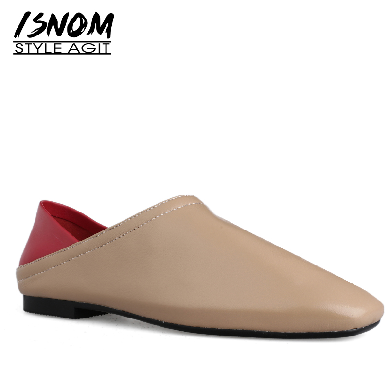 ISNOM Genuine Leather Flats Women Square Toe Footwear Stitching Fashion Casual Shoes Female Mules Shoes Woman
