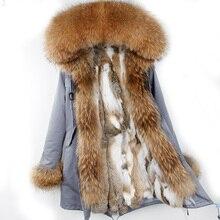 Длинные зимняя куртка женские Пиджаки толстые парки Енот натуральный мех воротник пальто с капюшоном реального теплый мех кролика лайнер пальто