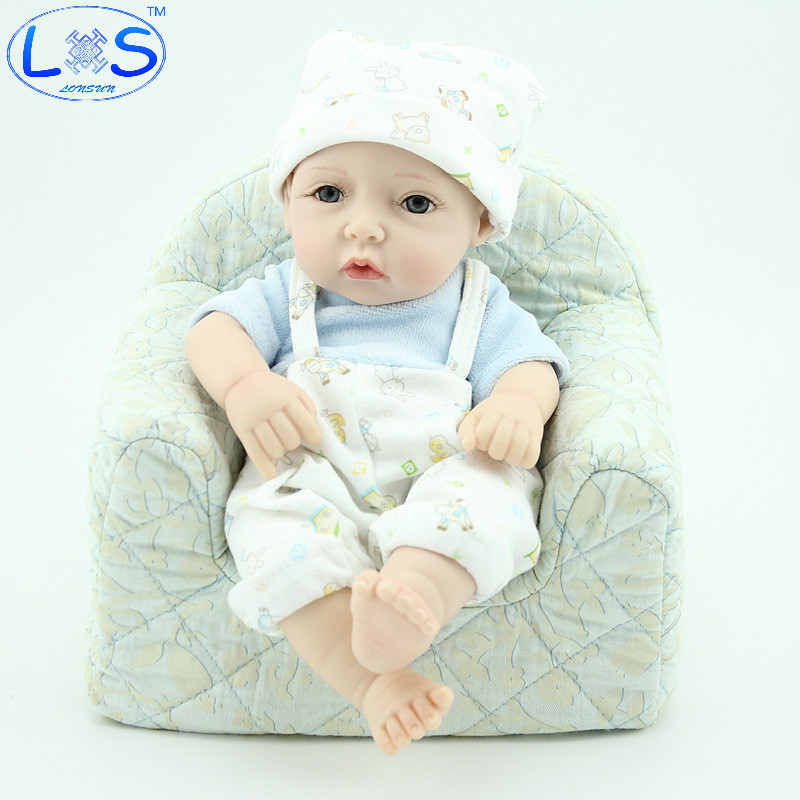 LONSUN Pout Boy Silicone Reborn Dolls Hobbies Stuffed Toys Accessories Dolls Bedtime Early Education Girl Toys Christmas Gift