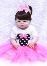 Muñeca reborn de la muchacha 55cm vinilo de silicona real reborn baby dollls juguetes para niñas recién nacidos muñeca regalo l ¡! o l bebes llorones