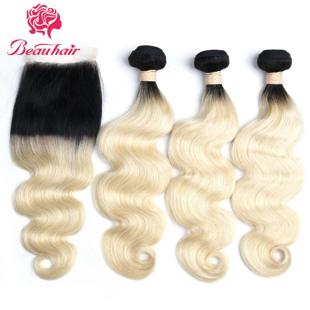Beau Non Remy Hair Ombre Color 1B/613 Hair Wefts 3 Bundles With Frontal Malaysian Human Body Wave Hair Free Shipping ...