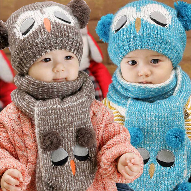 Winter Warm Baby Hat Scarf Set Boy Girl Kids Knitted Cartoon Owl Cap + Scarf Baby Beanies Scarves