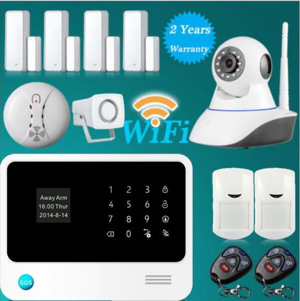 433 mhz WiFi GSM GPRS SMS Sans Fil de Sécurité À Domicile Système D'alarme Anti-Intrusion avec HD 720 P Wifi IP Caméra sans fil détecteur de fumée