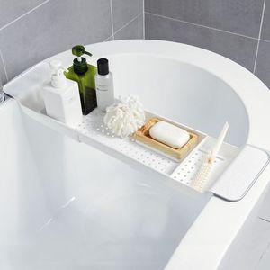 Image 2 - 욕조 욕조 선반 캐디 샤워 확장 가능한 홀더 랙 스토리지 트레이 욕실 샤워를위한 다기능 주최자