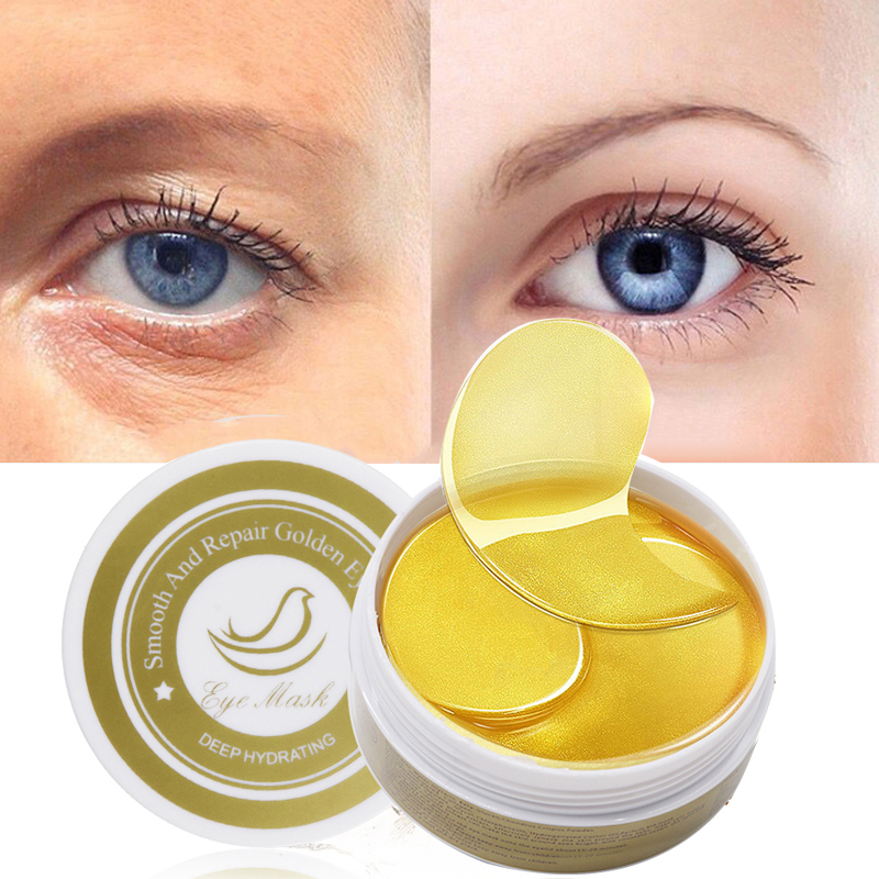 1 Bottle 60pcs Collagen Eye Mask Moisturizing Gold Mask Hydrogel Eye Patches Anti-Aging Anti-Puffiness Skin Care Patch TSLM2