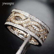 YWOSPX Luxury Gold S Color Zircon Hollow Rings for Women Wedding Engagement Ring Bijoux Anillos Gifts Y20 classic anillos red crystal zircon black color rings for women jewelry wedding engagement ring statement gifts y20