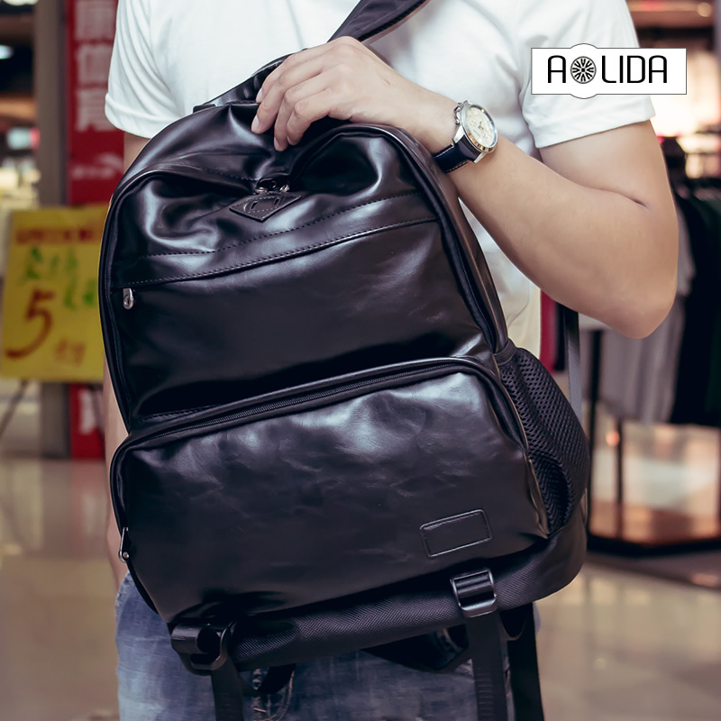 New Mens Backpack Black Blue PU Leather Travel Bag Men Laptop Backbag Male Leisure High Capacity backpack with Headphone hole