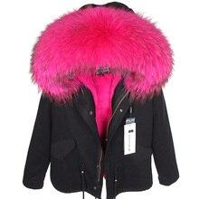 MAOMAOKONG2019 nowy prawdziwy kołnierz z futra szopa jesienno zimowa damska kurtka plus pogrubione bawełną damski płaszcz damski