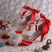 Новый Стиль Цветы Свадебные Каблуки Свадебная Сандалии Острым Носом Зашнуровать Лодыжки Ремень