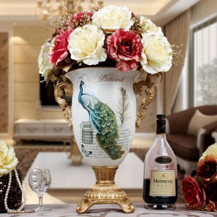 European peacock vase gold floral ornaments binaural living room TV cabinet decoration gift crafts Fashion dining table vase