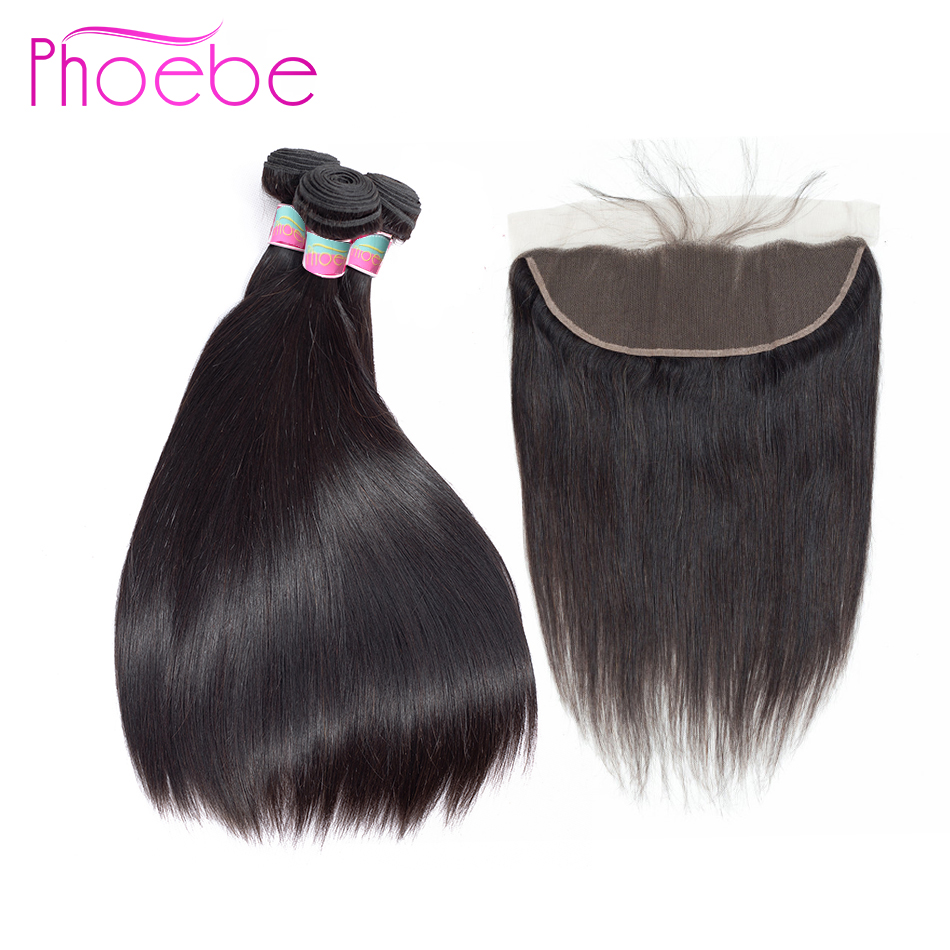 Phoebe Hair Pre Colored 3 Bundles With 13 4 Lace Frontal Closure Peruvian 100 Human Hair