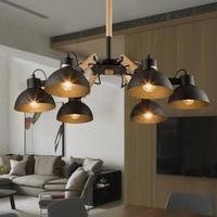 Nordic Korean loft wooden chandelier light wood dining room lamp retro industrial adjustable Chandelier