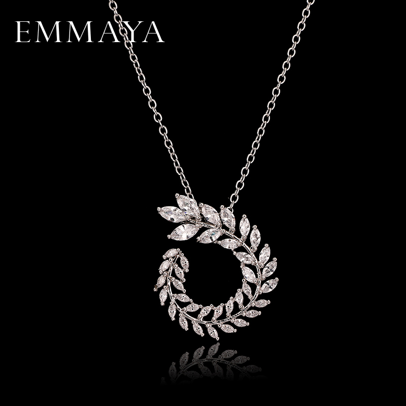 EMMAYA 2017 New Fashion Beautiful Big Vintage CZ Flower Novel Cross Necklace for Women Luxury Elegant Necklace Jewelry