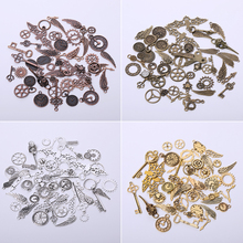Vintage Mixed Chrams for Jewelry Making Fashion Handmade DIY Accessories Gear Clock Key Pendant Charms 52pieces/lot vintage metal mixed angel wings charms diy handmade classic accessories fashion charms for jewelry making 100pieces lot