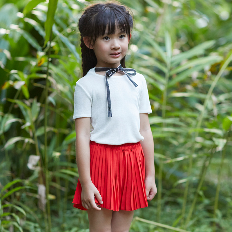 Girls Summer Skirts Kids Red All Match Skirt Baby Solid Pleated Skirt Children Cothes Pr ...