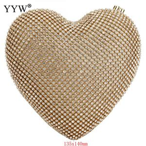Image 3 - Full Luxury Diamond Evening Bags Heart Shape Gold Clutch Bag Purse Women Rhinestone Banquet Bag Day Clutch Female 3 Color New