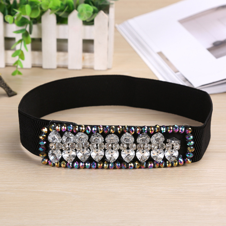 2019 New Arrival Designer Luxury Crystal Elastic Women Wide Belt With Rhinestone Elegant Belts For Women High Qualit SD235