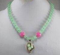 wholesale 18 light green jade necklace & 18kgp heart inlay 3 jade beads design pendant nacklace