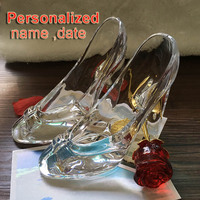 Rustic Wedding Crystal Princess Shoes , Personalized Transparent glass Home decorations, Engraved, Rustic Wedding Customized Wed
