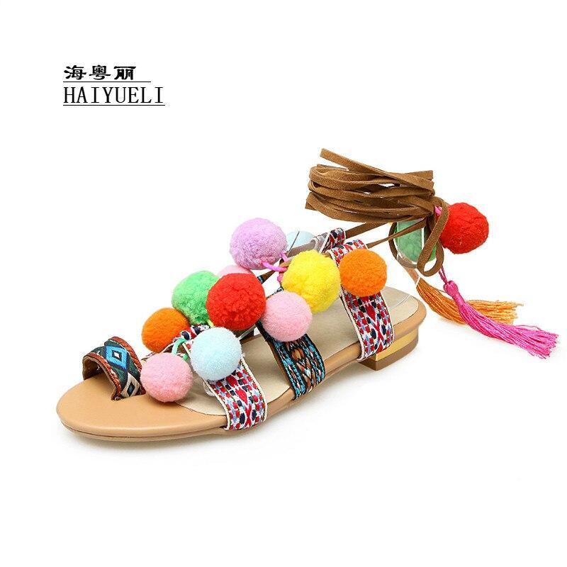 Women Brand Fashion Open Toe Colored Weave + Plush Ball Cross Bandage Knee Flat Heels Summer Sandals Boots