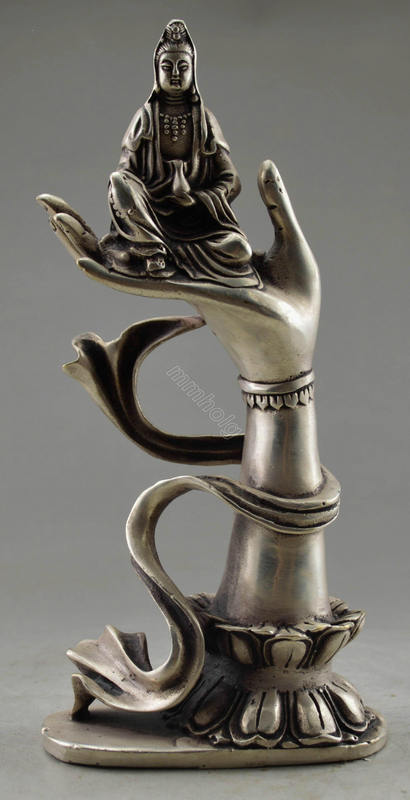 Christmas Decorations For Home+ Collectible Decorated Old Tibet Silver Carved Kwan-yin Sit In Buddha Hand Statue  Free  SHIPPING