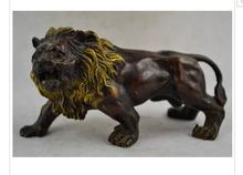 decoration bronze factory Pure Brass Antique 6.2 inch / Elaborate Old Chinese hand carved copper fierce lion statue sculpture