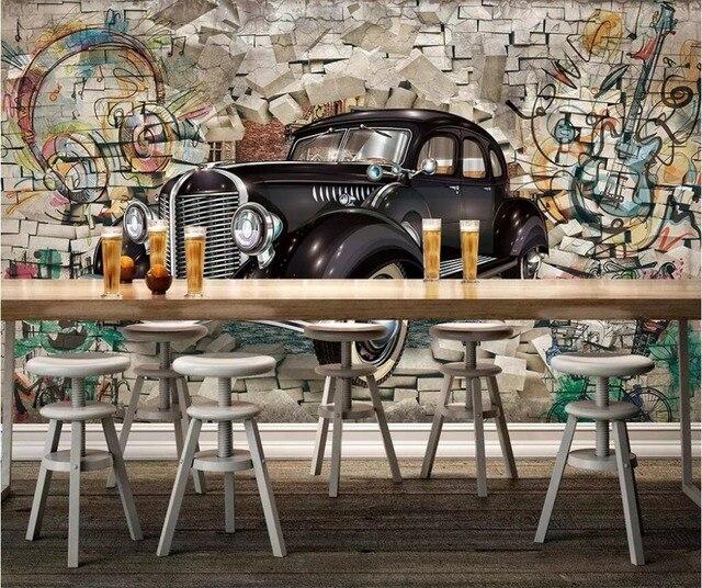 Beibehang Papel De Parede 3d Wandbild Custom Retro Klassische Auto