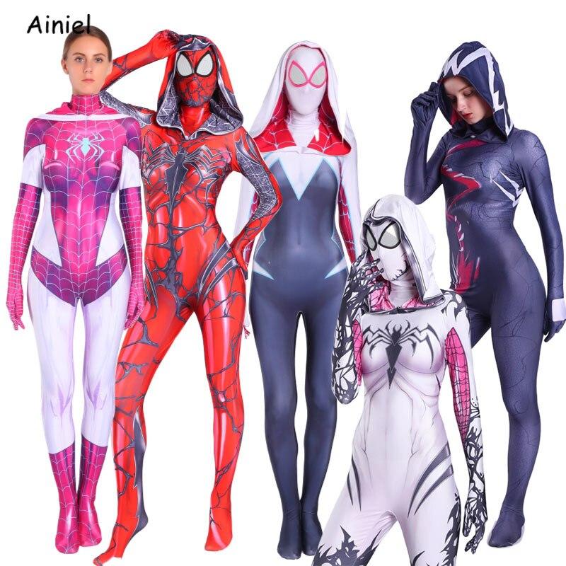 Spider Man Into The Spider Verse Gwen Stacy Cosplay Costume Venom Spiderman Hoodie Costume Mask Zentai