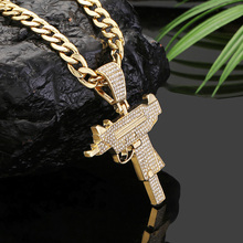 New Full Rhinestone Gun Ice Out Pendant Necklaces Long Cuban Link Chain Fashion Choker Necklace Men Hip Hop Jewelry Accessories ice link dtp1nd ice link