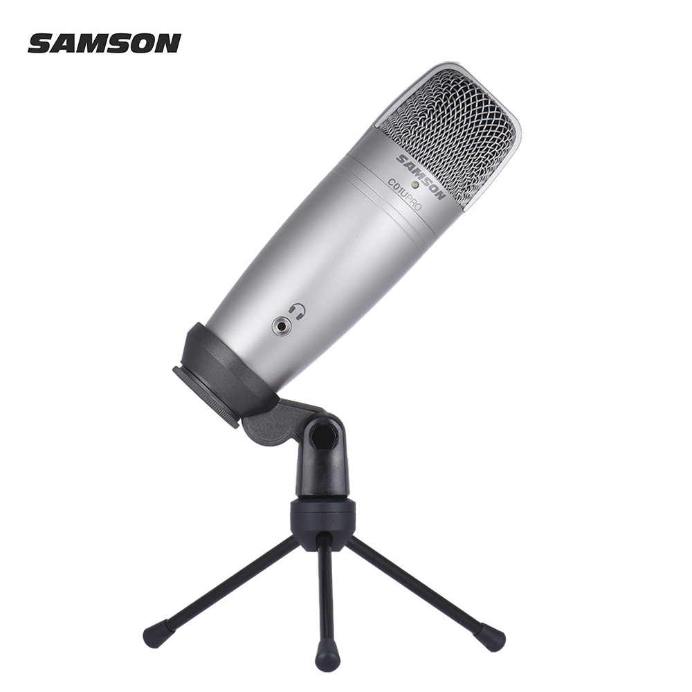 SAMSON C01U PRO USB Studio Condenser Recording Microphone Mic Large  Diaphragm with mini Tripod Stand Swivel Mount USB Cable