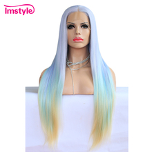 Imstyle Ombre Wig Mixed Color Long Straight Hair Synthetic Lace Front Wig Purple Green Yellow Mix Wigs For Women 28 inch