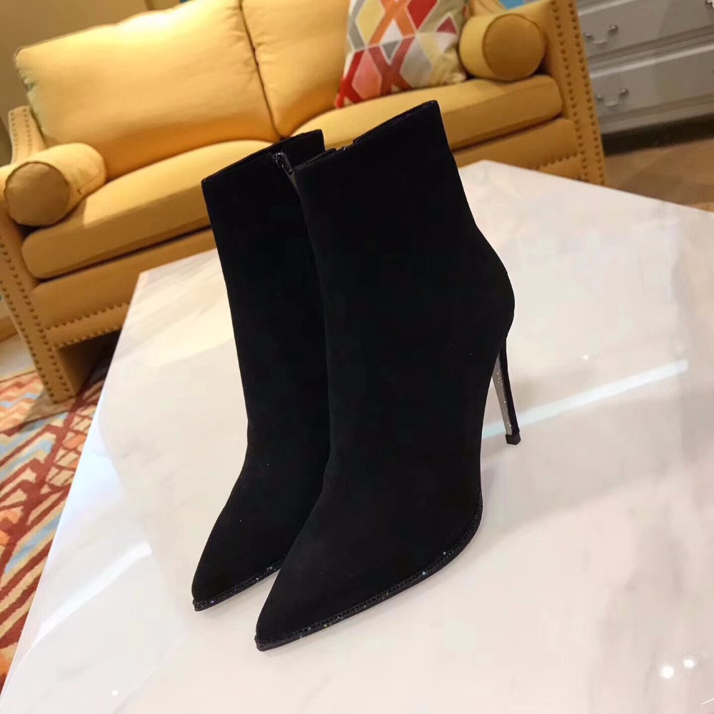2017 autumn and winter new ankle boots women genuine leather high heel boots women pointed sexy wild frosted Martin boots autumn and winter new ladies genuine