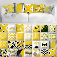 2019 Brand New Pineapple Leaf Yellow Pillowcase Square Flax pillow Bed Pillow Cover Pillowcase high quality