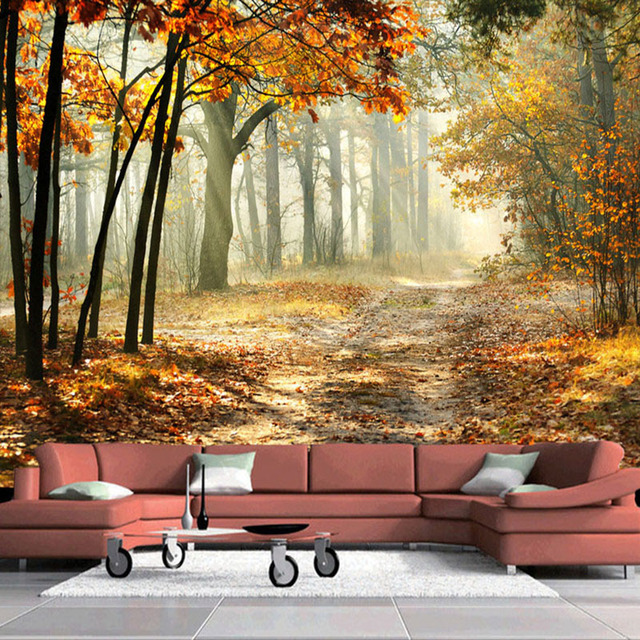 Photo Wallpaper Modern Autumn Forest 3D Wall Mural Living Room