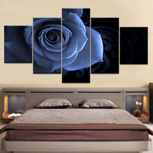 Frame Art Modular Canvas Wall Painting Pictures Home Decoration 5 Pieces Flower Pink Rose For Living Room Modern HD Print Poster