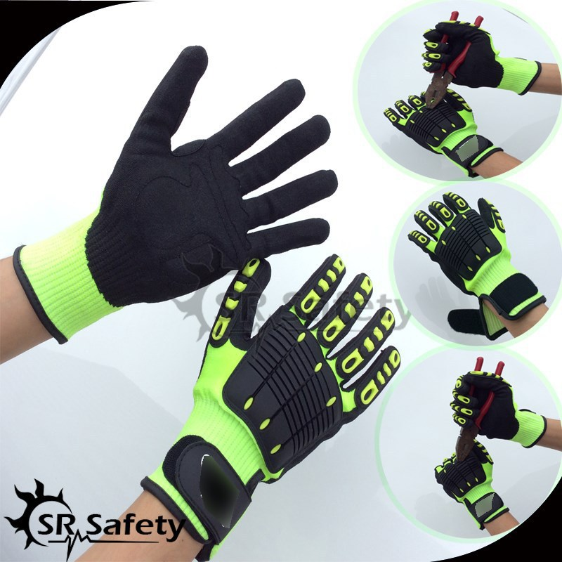 SRSafety 6 Pairs Anti Vibration Arbeitshandschuhe Vibration und Schock Handschuhe Anti Auswirkungen Mechanik WorkGloves, Cut Level 5 image