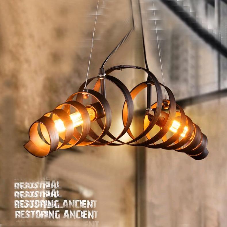 Vintage Lustre Pendant Light Industrial Spiral Pendant Lamp E27 Edison Loft Hanging Lamp luminaire Light Fixtures WPL177
