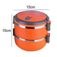 Stainless Steel Double Insulation Lunch Box Round Lunch Box Students Instant Noodles Cup Crisper