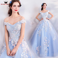 Ball Gown Fluffy Blue Tulle Flowers Beading Luxury Long Evening Dresses 2018 New Party Dress Evening Gowns Robe De Soiree NT77