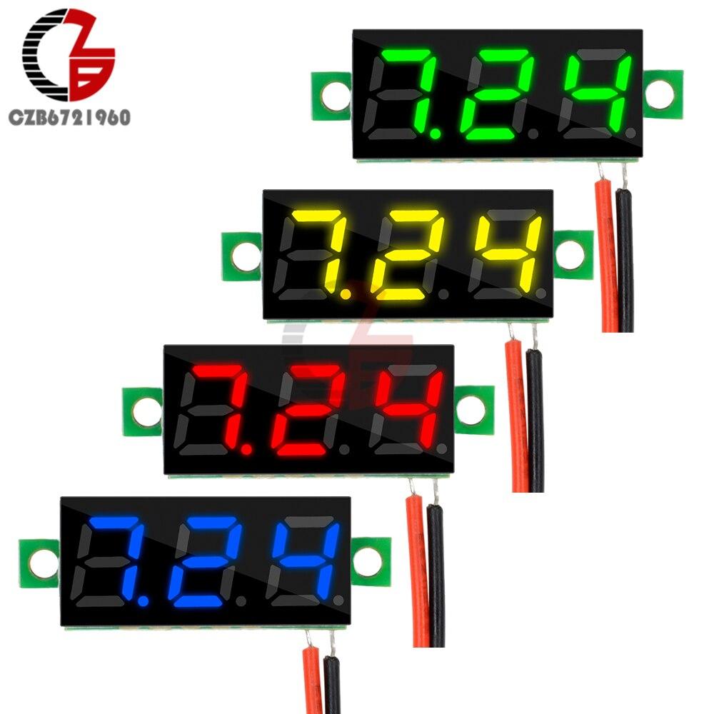 DC 2.5-30V 0.28 Inch Mini LED Digital Voltmeter Voltage Meter Panel 2 Wire Car Motocycle Electric Bicycle Volt Tester 5V 12V 24V