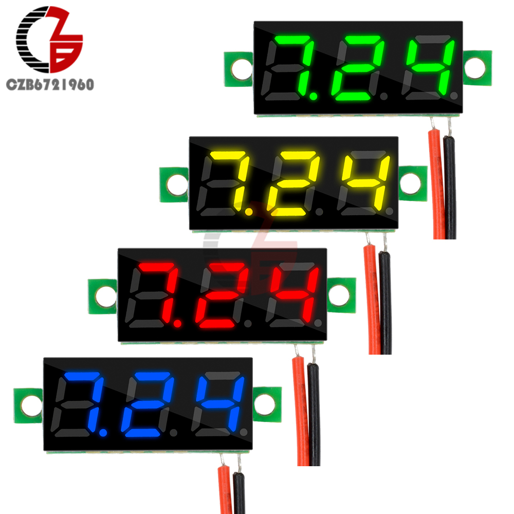 DC 5V 12V 0.28 inch Mini LCD Digital Voltmeter Voltage Meter Panel Volt Tester Detector 2 Wire Yellow/Red/Blue/Green LED Display gwunw by456v dc 0 30 00v 30v 4 bit digital voltmeter panel meter red blue green 0 56 inch voltage tester meter