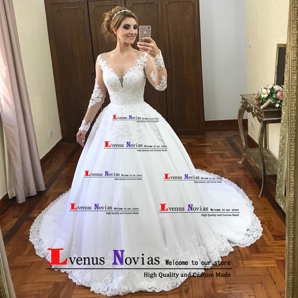 vestido de noiva boho Sexy Bohemian Ball Gown Wedding Dresses 2019 Sexy Long Sleeve Wedding Dress