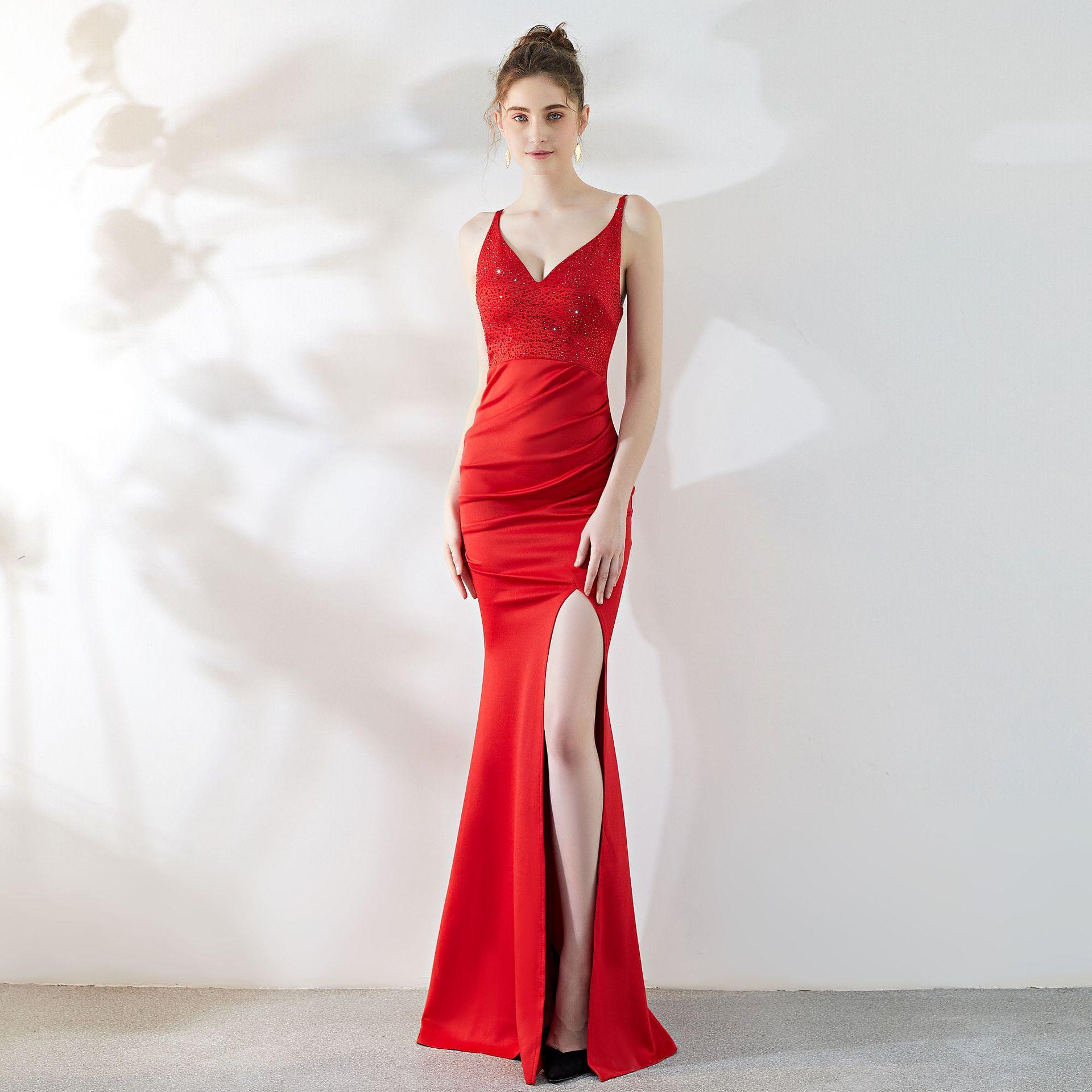 Sexy rouge diamants col en V sans manches ouvert fente sangle élégant bal Gonws femmes formelle Banquet longue robe fête Clubwear sirène
