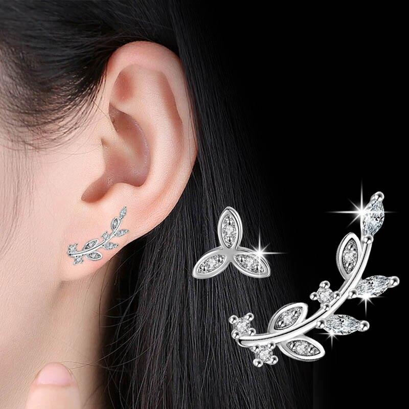 2019 Elegant 925 Sterling Silver Leaf Earrings for Women Female AAA Cubic Zirconia Stud Earring Brincos Kolczyki Fashion Jewelry in Stud Earrings from Jewelry Accessories