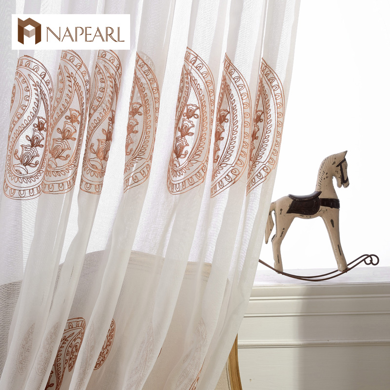 Modern linen tulle curtains window treatments sheer panel - European style curtains for living room ...