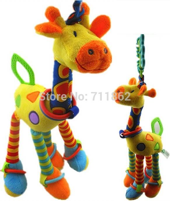 (46cm)Giraffe/rabbit Bed Bells Infant toy ultra long hanging giraffe Baby Toys rattle bed bells toys